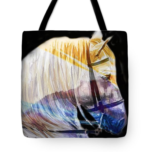 Tote Bag featuring the painting Abstract White Horse 50 by J- J- Espinoza
