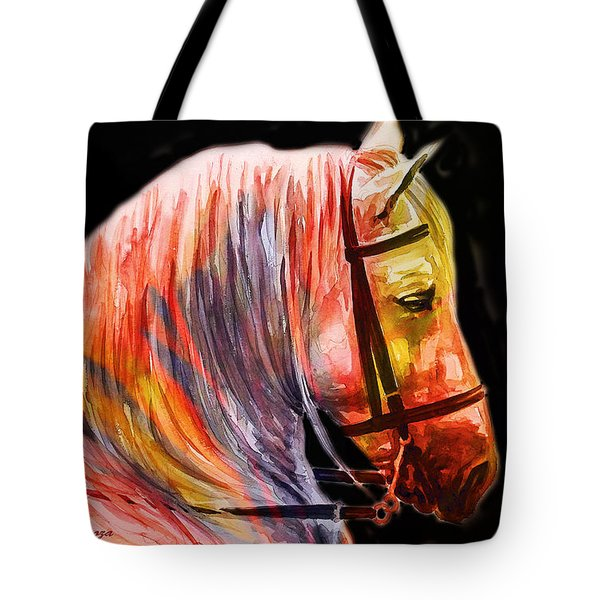 Tote Bag featuring the painting Abstract White Horse 52 by J- J- Espinoza