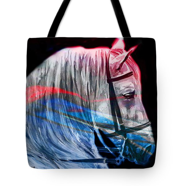 Tote Bag featuring the painting Abstract White Horse 53 by J- J- Espinoza