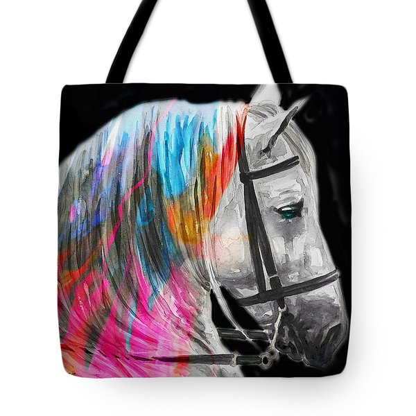 Tote Bag featuring the painting Abstract White Horse 54 by J- J- Espinoza