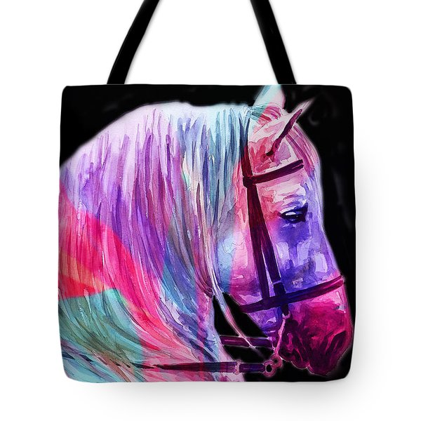 Tote Bag featuring the painting Abstract White Horse 55 by J- J- Espinoza