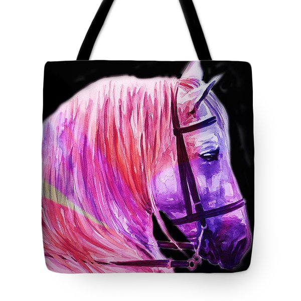 Tote Bag featuring the painting Abstract White Horse 56 by J- J- Espinoza