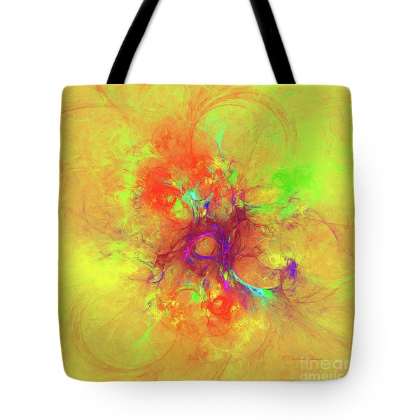 Tote Bag featuring the digital art Abstract With Yellow by Deborah Benoit
