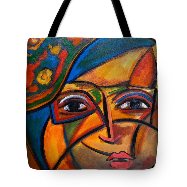 Abstract Woman With Flower Hat Tote Bag