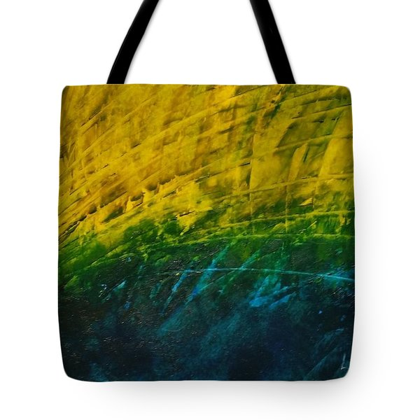 Abstract Yellow, Green With Dark Blue.   Tote Bag