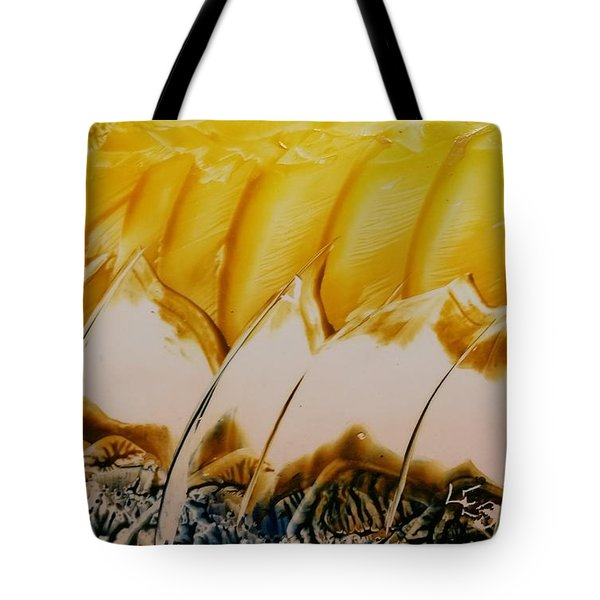 Abstract Yellow, White Waves And Sails Tote Bag