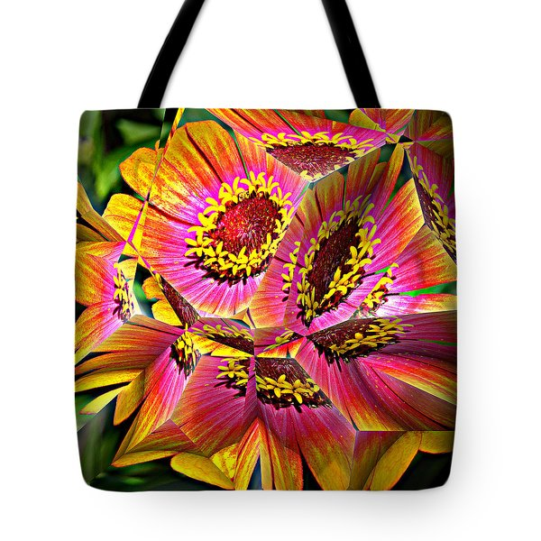 Abstract Yellow Flame Zinnia Tote Bag