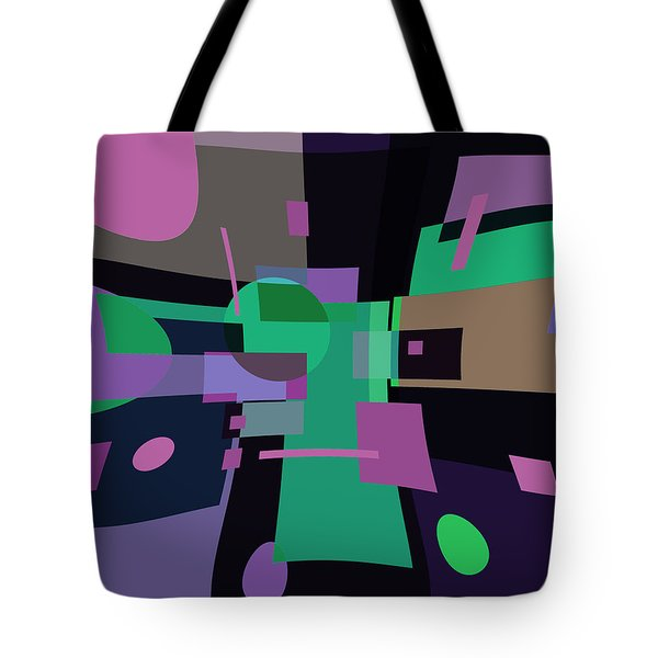 Tote Bag featuring the digital art Abstraction In Bent Squares by Lynda Lehmann