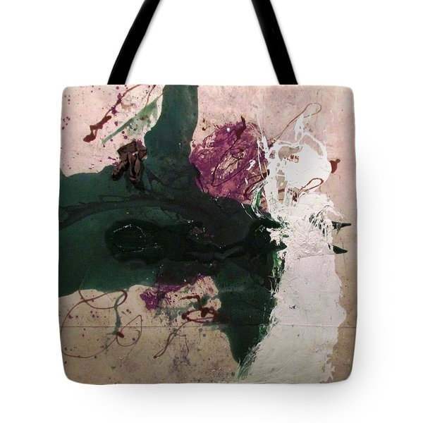 Abstraction White Red Green  Tote Bag