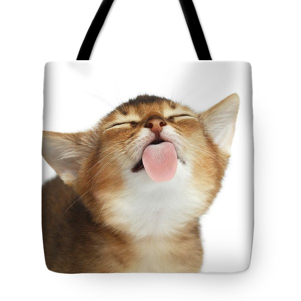 Abyssinian Kitten Licking Screen  Tote Bag