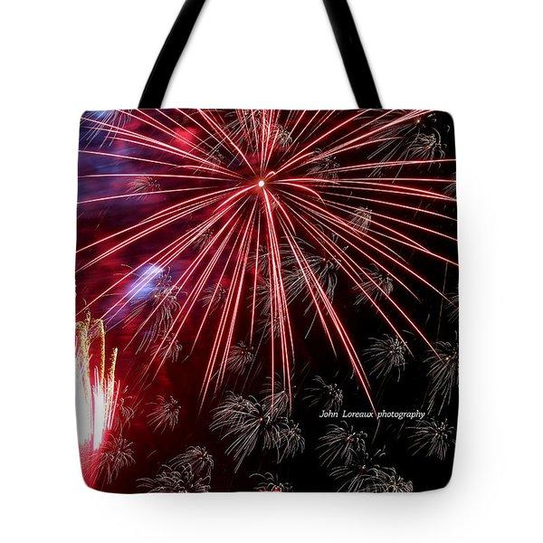 Ac Fireworks Tote Bag by John Loreaux