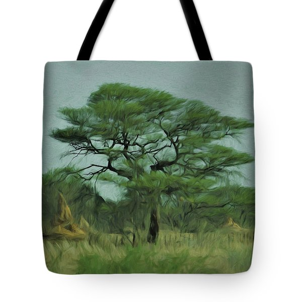 Tote Bag featuring the digital art Acacia Tree And Termite Hills by Ernie Echols