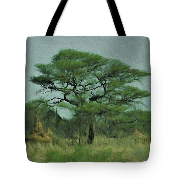 Acacia Tree And Termite Hills Tote Bag by Ernie Echols