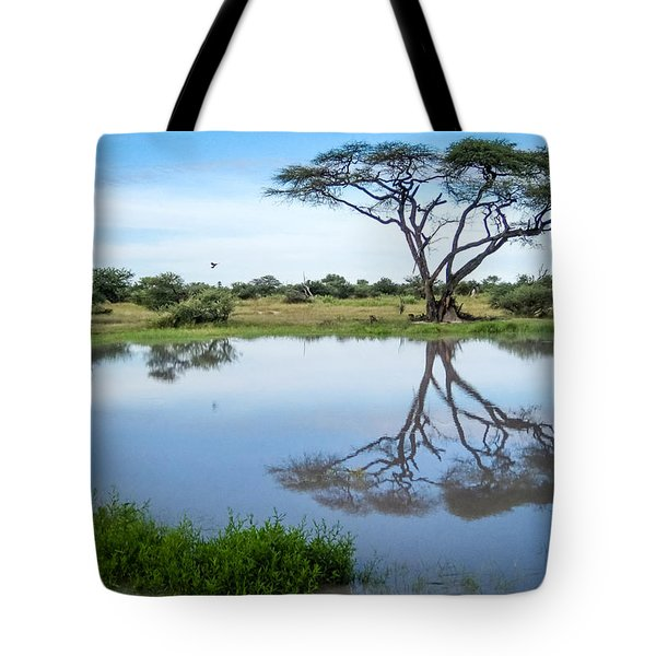 Tote Bag featuring the photograph Acacia Tree Reflection by Gregory Daley  PPSA