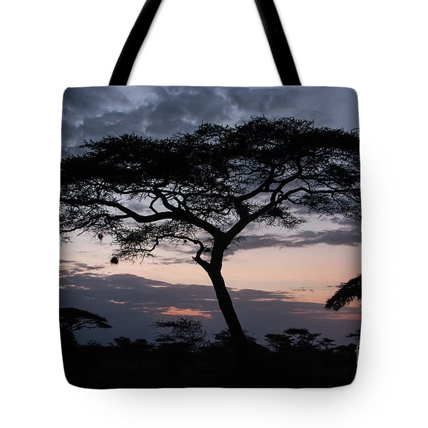 Acacia Trees Sunset Tote Bag by Chris Scroggins