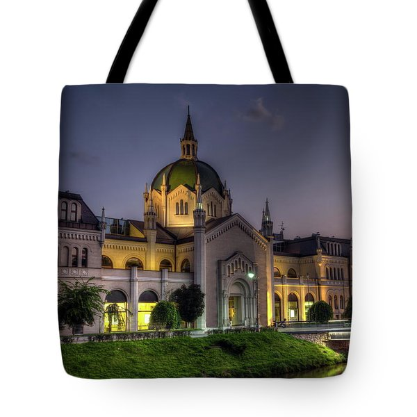 Academy Of Fine Arts, Sarajevo, Bosnia And Herzegovina At The Night Time Tote Bag by Elenarts - Elena Duvernay photo