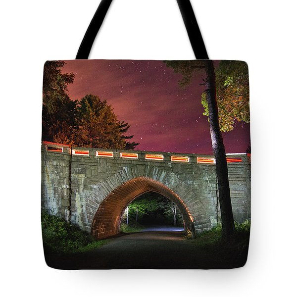 Acadia Carriage Bridge Under The Stars Tote Bag