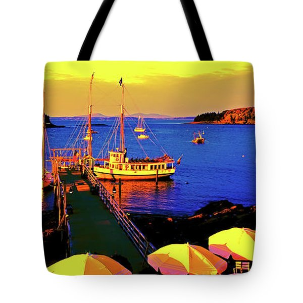 Tote Bag featuring the photograph Acaida  Bar Harbor  Pier by Tom Jelen