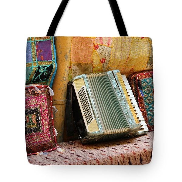 Accordion  With Colorful Pillows Tote Bag by Yoel Koskas