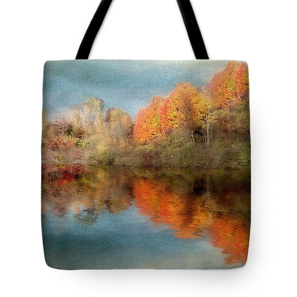 Accross The Lake In Autumn Tote Bag