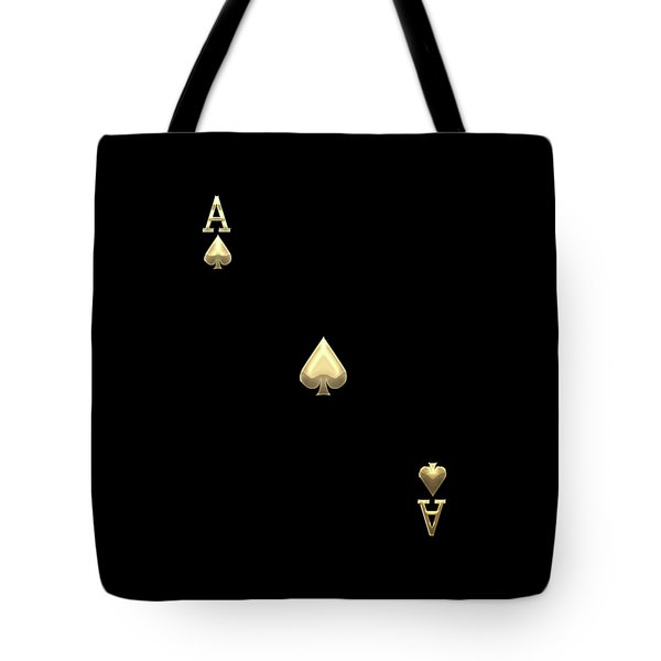 Ace Of Spades In Gold On Black   Tote Bag