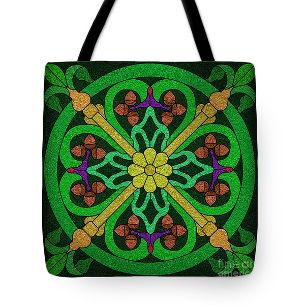 Acorn On Dark Green Tote Bag