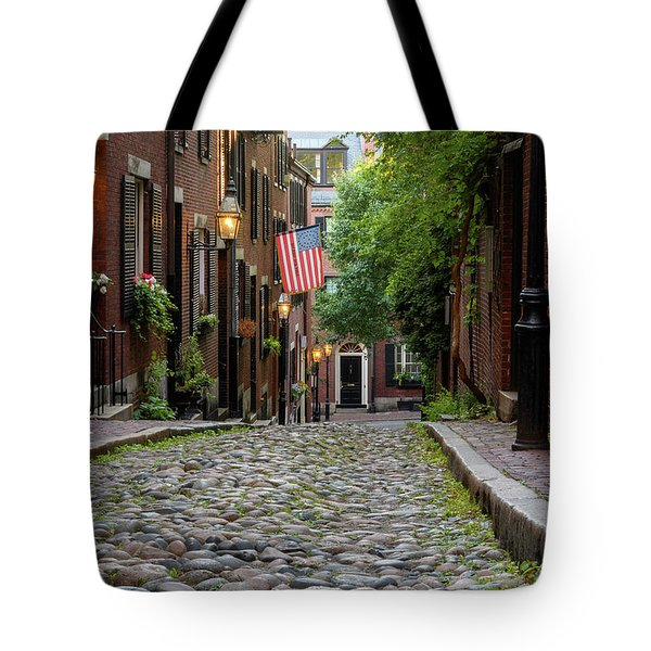 Tote Bag featuring the photograph Acorn St. Boston Ma. by Michael Hubley