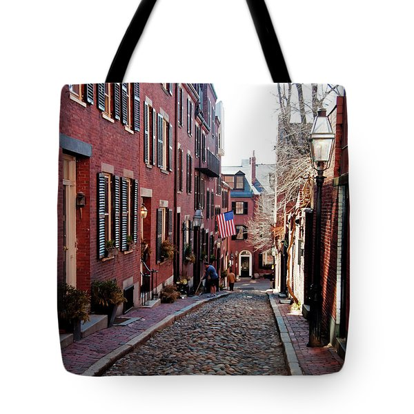 Tote Bag featuring the photograph Acorn Street Beacon Hill by Wayne Marshall Chase
