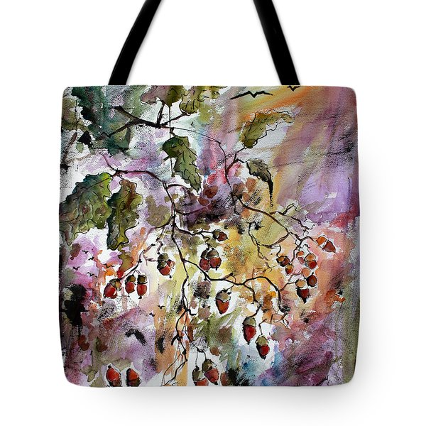 Tote Bag featuring the painting Acorns Autumn Expression by Ginette Callaway