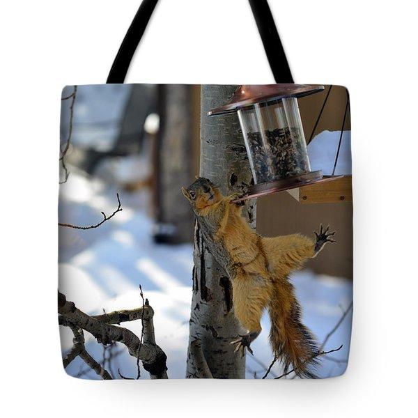 Acrobatic Squirrel Tote Bag