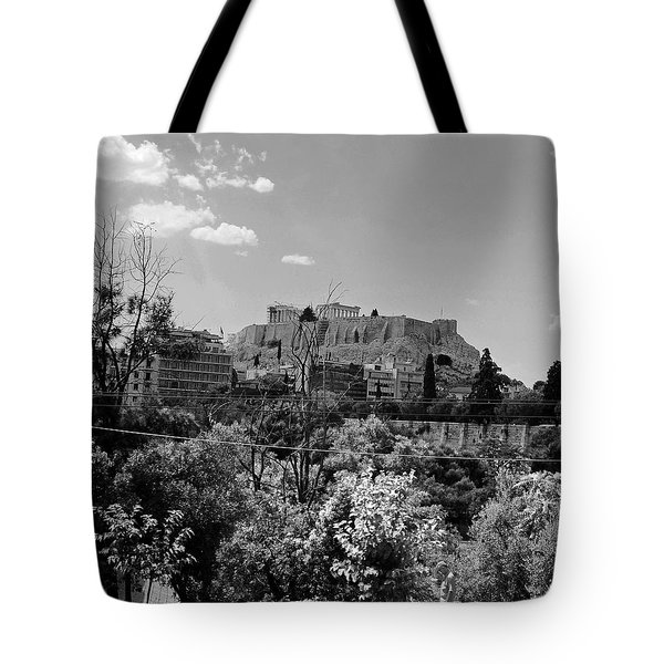 Acropolis Black And White Tote Bag