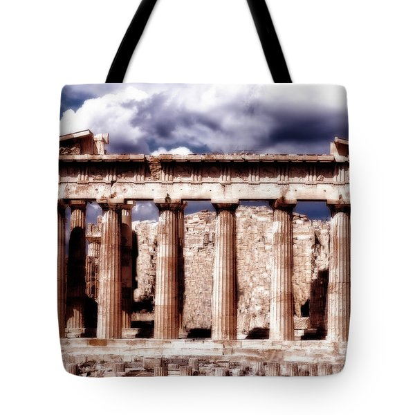 Tote Bag featuring the photograph Acropolis Of Greece by Linda Constant