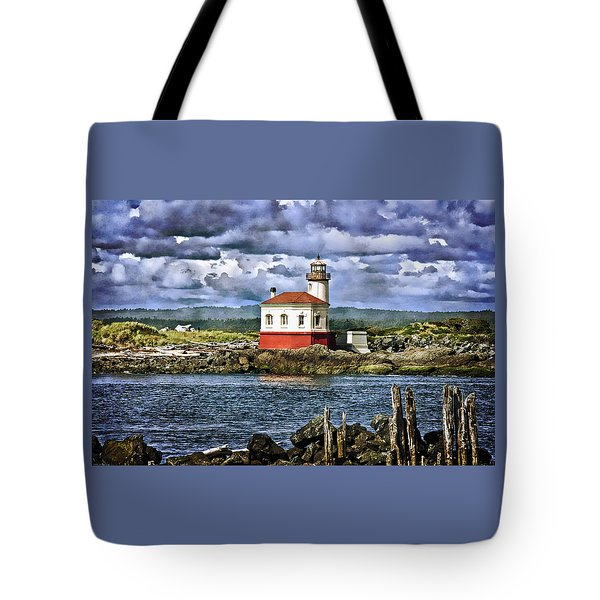 Across From The Coquille River Lighthouse Tote Bag by Thom Zehrfeld