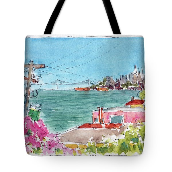Tote Bag featuring the painting Across The Bay From Sausalito by Pat Katz