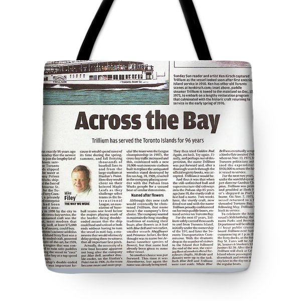 Tote Bag featuring the painting Toronto Sun Article Across The Bay by Kenneth M Kirsch