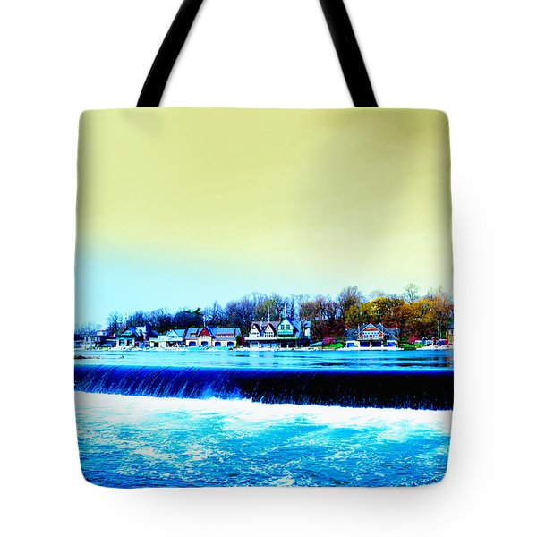 Across The Dam To Boathouse Row. Tote Bag by Bill Cannon
