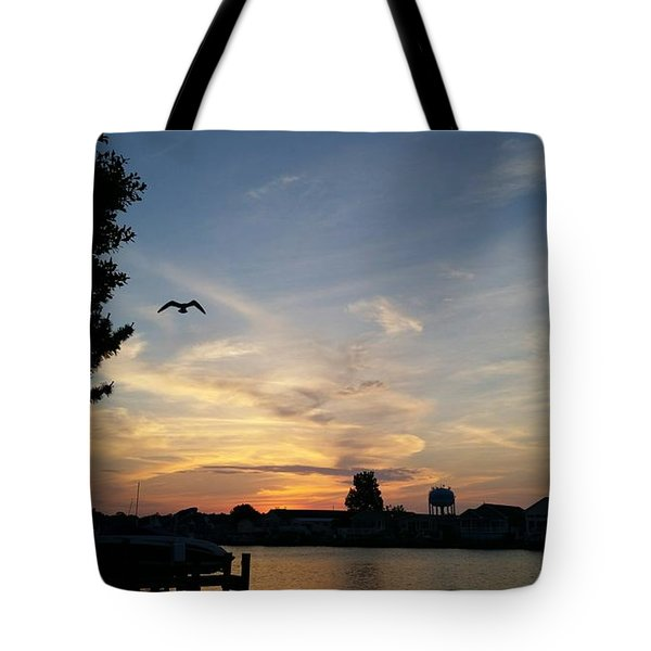 Across The Inlet At Dawn Tote Bag by Robert Banach