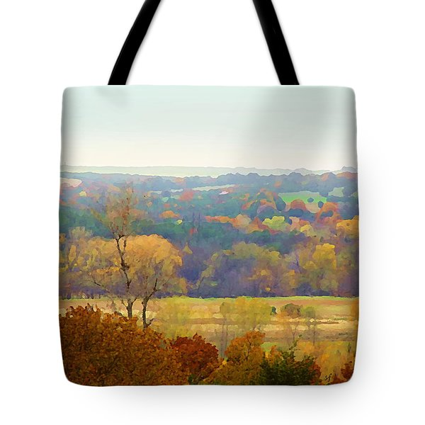 Across The River In Autumn Tote Bag