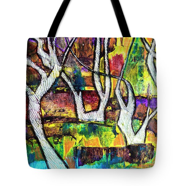 Tote Bag featuring the painting Acrylic Forest  by Ariadna De Raadt