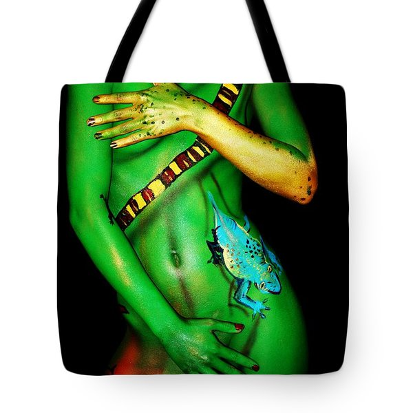 Tote Bag featuring the painting acrylic on FLESH by Tbone Oliver