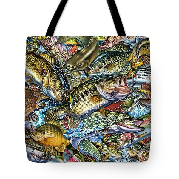 Action Fish Collage Tote Bag