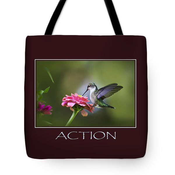 Action Inspirational Motivational Poster Art Tote Bag by Christina Rollo