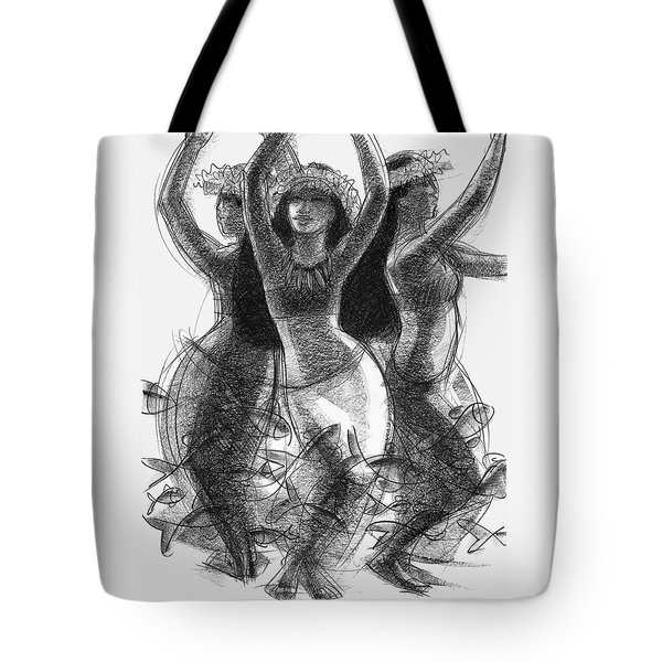Tote Bag featuring the drawing Action Song Dancers With Fish Pareu by Judith Kunzle
