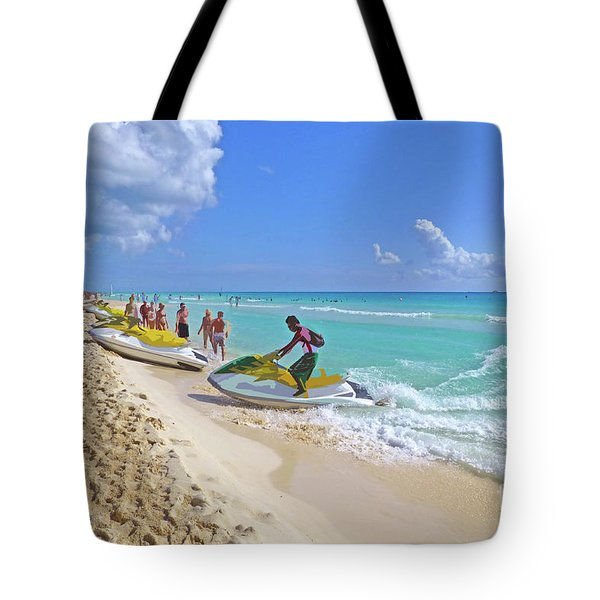 Tote Bag featuring the digital art Active Beach M3 by Francesca Mackenney