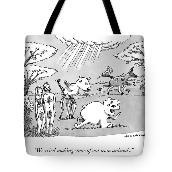 Adam And Eve Attempt To Make Their Own Animals, Poorly. Tote Bag