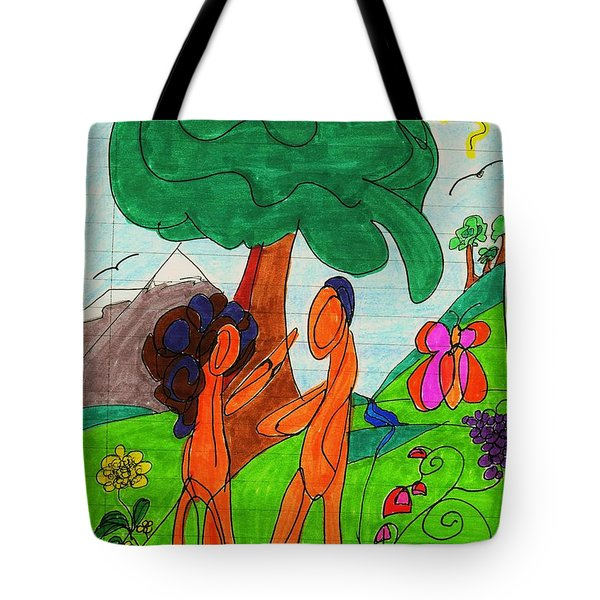 Adam And Eve Tote Bag by Martin Cline