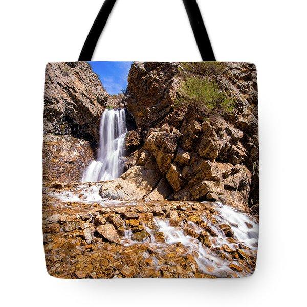 Adams Canyon Waterfall Pano Tote Bag