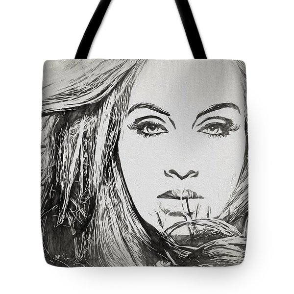 Adele Charcoal Sketch Tote Bag by Dan Sproul