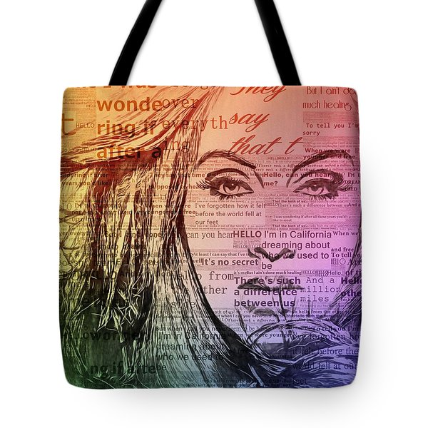 Adele Hello Typography  Tote Bag by Dan Sproul