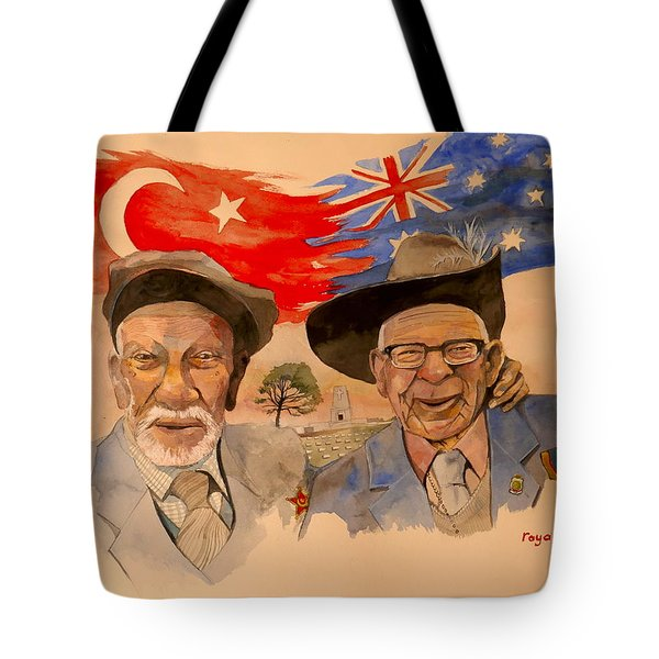 Tote Bag featuring the painting Adil Sahin And Len Hall by Ray Agius